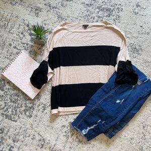 Ann Taylor tan black color block light sweater S